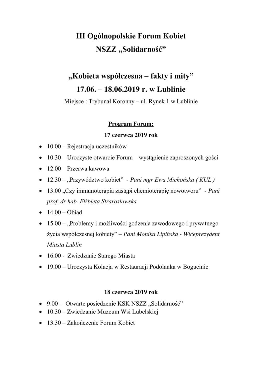 Program III Ogólnopolskie Form Kobiet NSZZ jpg